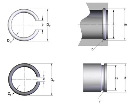 Стопорные кольца для валов, отверстий прямоугольного сечения из каталоге СТАМО